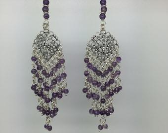 Silver dangling chandelier earrings with amathyst ,long earrings,silver earring,amathyst earrings,Ethnic earrings,gypsy earrings,boho