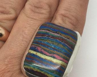 silver rainbow calsilica ring,rainbow calsilica jewelry,rainbow calsilica stone,silver ring,silver jewelry,bohemian jewelry,boho ring,