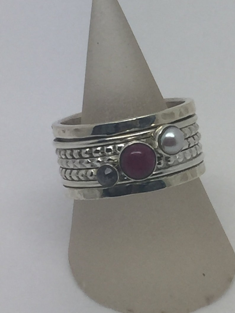 silver rotating ring with smoky quartz,pearl/&ruby stone,rotating stone ring,Spinning ring spinner ring,silver stone ring,gemstone ring