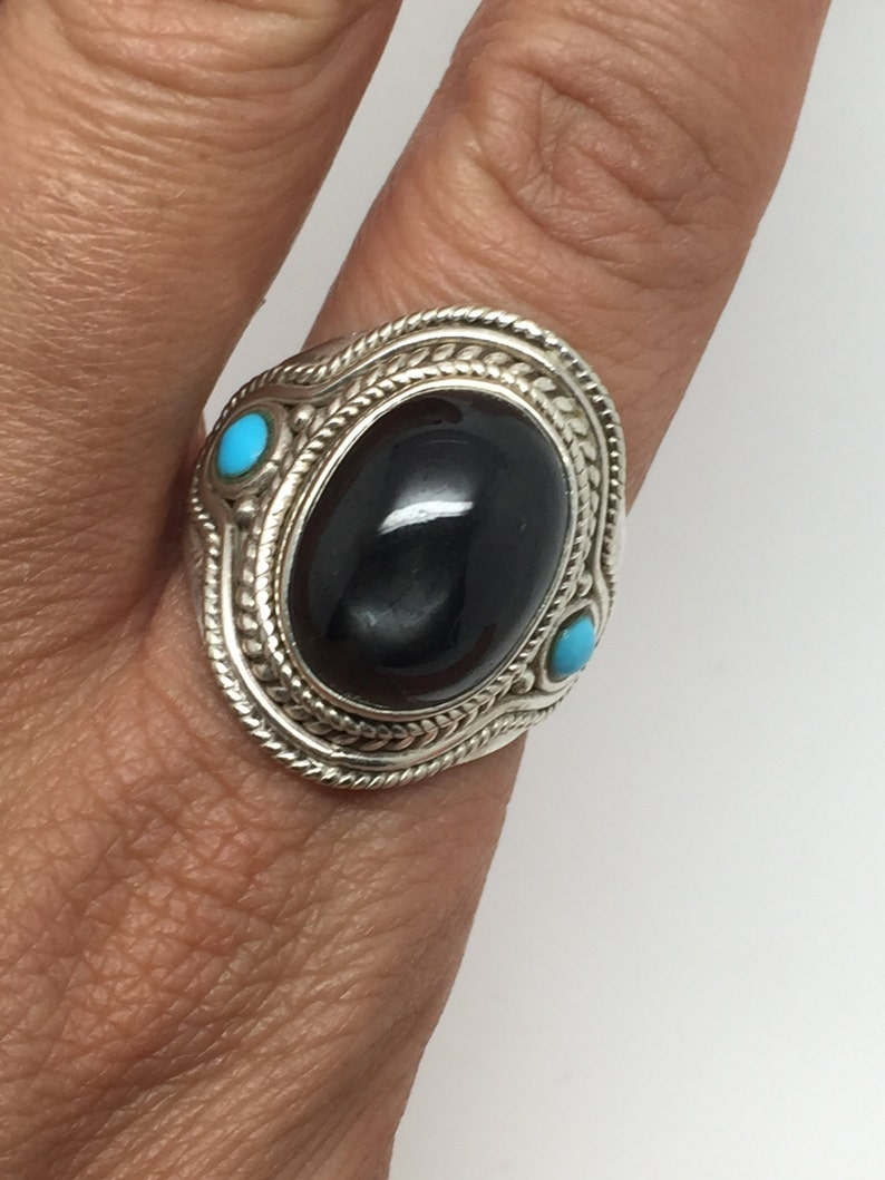 53f5a9e7424c8 silver ring with black star stone and two small turquoise on each  side,black stone,turquoise stone,turquoise ring,boho ring, man ring