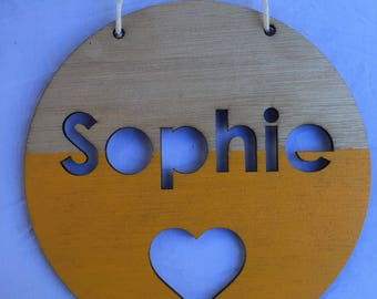 Personalised Timber Name Plaque - Painted