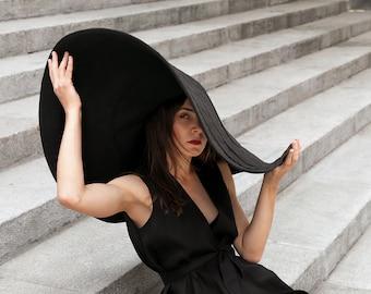 Sun Hats,Broad-brimmed Hat,Hat With a Wide Brim,Hat for Photosession,Women's Hat,Linen Hat,Broad-brim,Big Hat,Black Hat,Beige hat