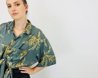 9510a77358c Vintage 90 s Funky SILK Abstract Patterned Summer Shirt