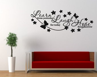 Learn, laugh, hope wall sticker