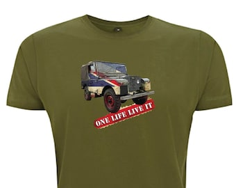 6977dae4 One Life Live It Landrover Men's T-Shirt Land Rover Union Jack Series 1  Best of British Farmer