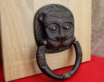 Door Knob With Hanuman Large Bronze Knobs Vintage Knobs Copper Handles  Metal Handle Door Knocker Monkey Faux Knocker Medieval Castle Handle