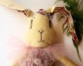 Bunny rabbit fabric plush Yellow cotton rabbit plush Bunny hare animal plush Fabric softie Stuffed doll for Xmas baby gift newborn girl
