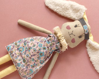 Stuffed animal rabbit For girl gift Beige & Yellow bunny with pink floral dress Easter plush Soft bunny rabbit gifts For Baby girl
