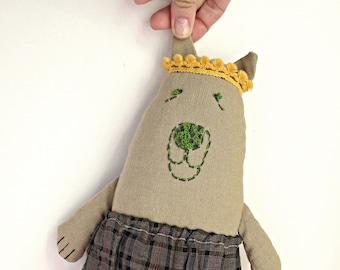 Embroidered bear Stuffed animal Teddy bear Soft toy Ooak bear plush Boy nursery under 50 For boy Stuffed bear toy For boy nursery Child gift