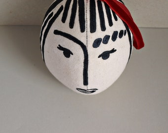 Easter ornament Hanging decoration Easter gift for Home decor Fabric egg with handpainted girl with fringes Small gift for Easter for boy