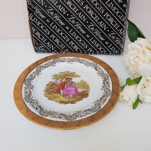 Dainty Plate w Pink Border and Charming Castle Nature Scenery at Center Square Vintage Decor Wall Plate Vintage Valentine/'s Day Gift