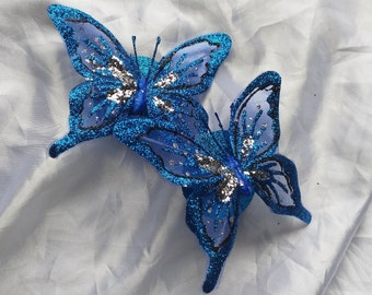 Blue butterfly nipple pasties with removable tassels