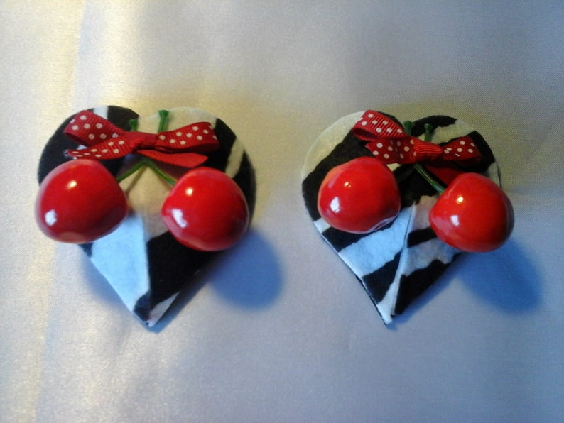 Zebra and Cherries Heart C-string and nipple pasties