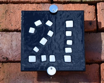 Contemporary fused glass door number - modern house number - mosaic house number - Fused glass door number - Black & White wall art
