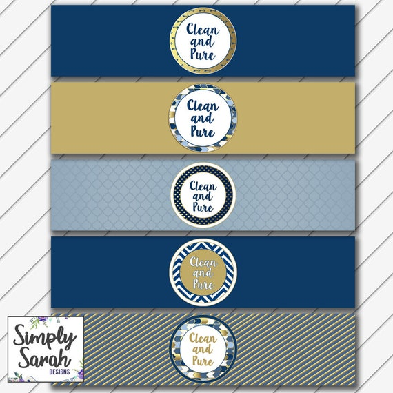 Printable Baptism Water Bottle Labels Navy And Gold Lds Etsy