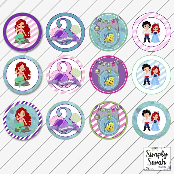 Ariel Little Mermaid Birthday Party Cupcake Toppers Food Etsy