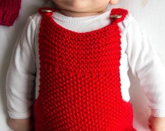 Salopette / barboteuse tricoté à la main, taille naissance à 3 mois, cadeau de naissance