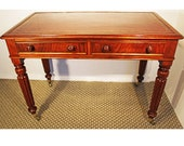 Leather Writing Desk. Antique 19th C Library table.