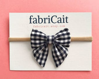 Navy Gingham Bow. Navy Gingham Baby Bow. Navy Gingham Baby Headband. Navy Baby Bow. Navy Baby Headband. Navy Baby Bow Headband. Gingham Bow.