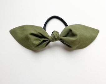 Olive Green Hair Scarf. Olive Hair Bow. Green Bow. Winter Hair Scarf. Olive Bow. Girls Hair Scarf. Solid Green Hair Scarf. Green Hair Scarf.