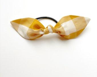 Yellow Check Hair Scarf. Yellow Plaid Hair Scarf. Yellow Buffalo Check Hair Scarf. Yellow Gingham Bow. Yellow Plaid Hair Bow.