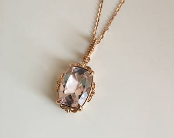 Morganite necklace etsy morganite necklace in rose gold morganite charm cushion morganite aloadofball Gallery
