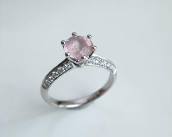 Rose quartz engagement ring | Etsy