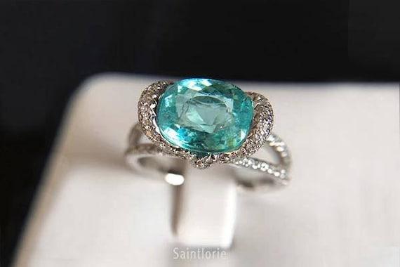 2 6 Carat Paraiba Tourmaline Engagement Ring Blue Stone