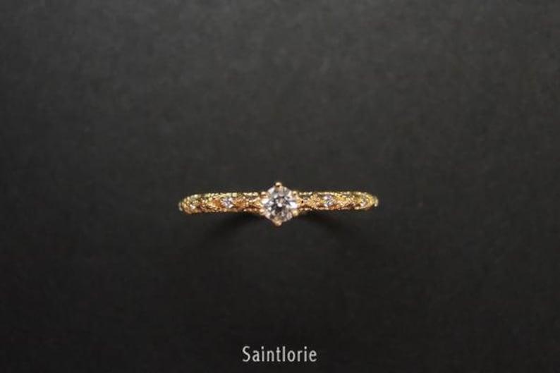 0.1 Carat Diamond Engagement Ring Diamond Promise Ring Yellow Gold Ring Filigree Ring