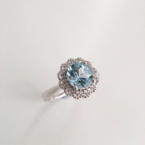 18 Pierścionek Zaręczynowy Akwamaryn Carat Niebieski Kamień Etsy