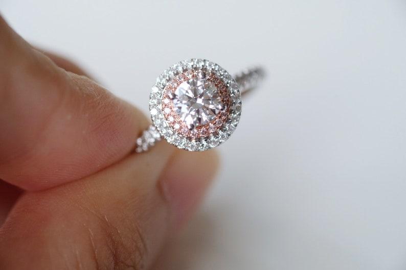 51fec73cec 0.5 Carat Diamond Engagement Ring Diamond Halo Ring White Gold | Etsy