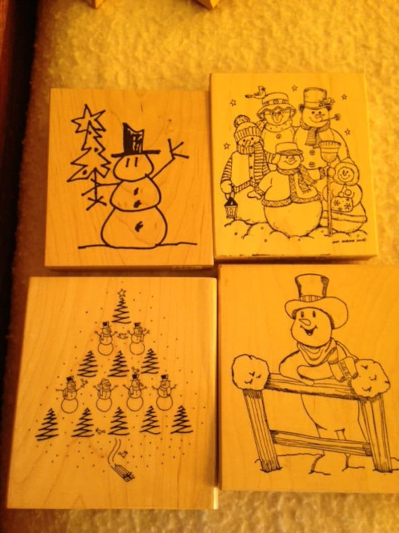 Heather Stampourri Rubber Cottage Snowman Wood Block Rubber Stamps Northwoods