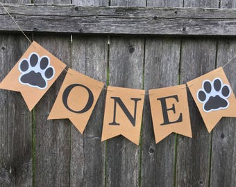 Paw Print Birthday Banner Pawty Puppies First Dog Party Cake Smash Photo Prop