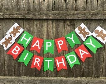 christmas birthday banner gingerbread man birthday banner christmas birthday party red and green birthday banner