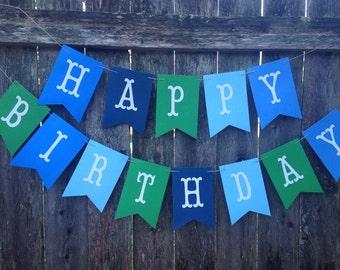 Birthday Banner. Boy Happy Birthday Banner. Blue and green birthday banner. Birthday boy decor. Custom Party Banner.