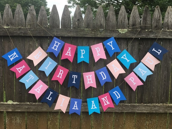 Happy Birthday Banner Twins Birthday Banner Boy Girl Twins First Birthday Pink And Blue Birthday Banner Twins 1st Birthday