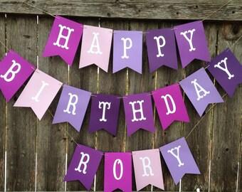 Purple birthday banner, First Birthday banner. Purple birthday. Purple birthday banner. Happy Birthday banner.
