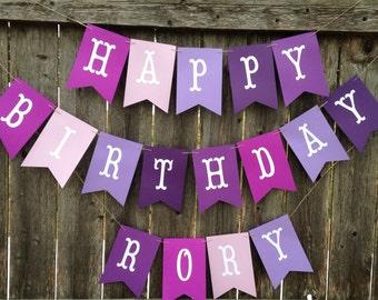 Happy Birthday Banner. Girl birthday banner. Purple happy birthday banner. Personalized birthday banner. Teen birthday banner.