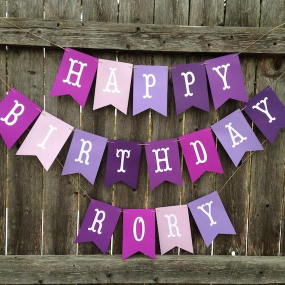 purple happy birthday banner personalized birthday banner etsy