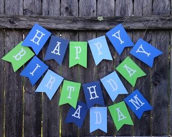 Large Birthday Banner. Boy Happy Birthday Banner. Blue and green birthday banner. Birthday boy decor. Custom Party Banner.
