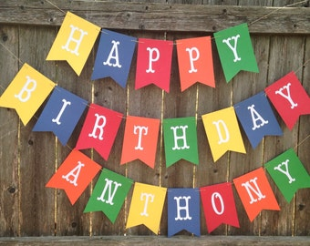 Boy birthday banner. Boy 1st birthday banner. Happy Birthday banner.