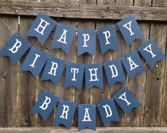 Happy Birthday banner. Boy birthday banner. Navy blue birthday banner. Personalized birthday banner.