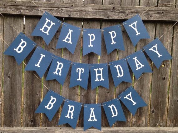 happy birthday banner boy birthday banner navy blue birthday etsy