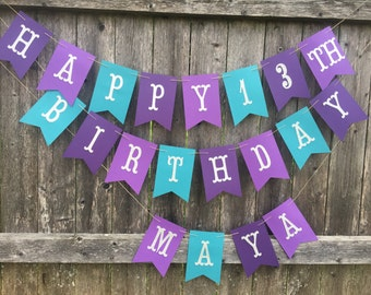 Happy Birthday Banner. Birthday banner in teal, light purple and dark purple.