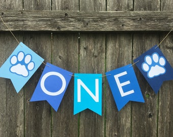 Paw print Birthday banner. Pawty banner. Puppies first birthday. Dog birthday party. Cake smash photo prop.