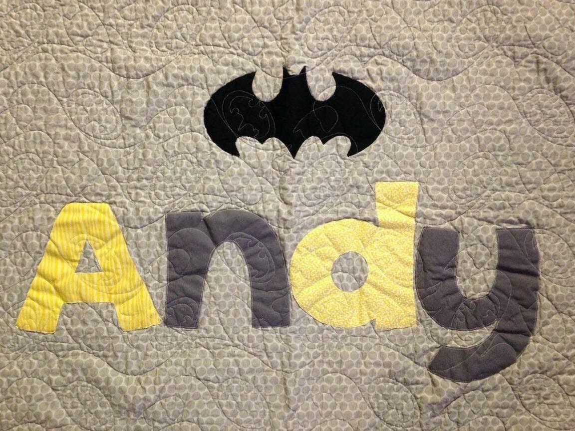 Courtepointe de bébé de Batman, couture de batman, courtepointe de nom custom