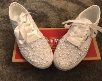 Adults White Vans Trainers with Rainbow Crystals and Pearls Bling wedding  prom bridesmaid bbab08a7e