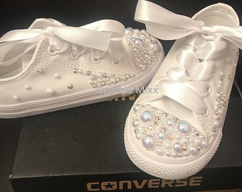 78ae570ad0675d Kids stunning Crystal and Pearl White Converse with scatter crystal sides    ribbon laces perfect party shoes. Flower girl bridesmaid