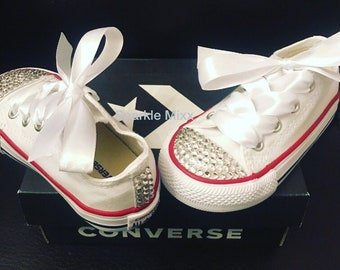 ad437444a44f65 Kids White Swarovksi Crystal Converse Wedding Christening Flower Girl