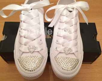 Adults All White Swarovski Converse with Crystal Heart Detail d30ea6a377a9